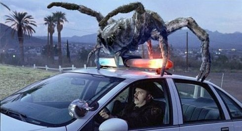 Jumping spider attacks cop car in Eight Legged Freaks (photo via IMDB).